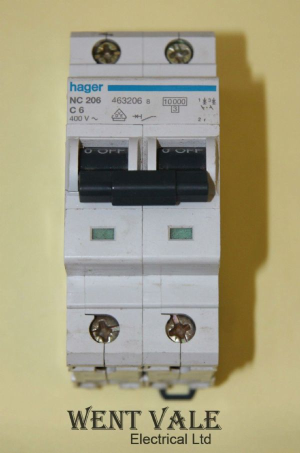 Hager NC206 - 6a Type C Double Pole MCB Used